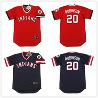 robinson - Throwback Cleveland Indians Frank Robinson Retro Navy Blue Red Vintage Baseball Jerseys Wholesaler in China