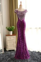 water beads for wedding - Purple Lace Sequins Mermaid Bridesmaid Dresses Short Sleeves Bridesmaid Dress For Wedding Party Lace Up