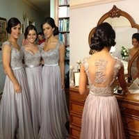 beaded neckless - Gorgeous Beaded Silver A Line Bridesmaid Wedding Dresses Sexy V Neckless Sheer Appliques Back Floor Length Chiffon Evening Gowns