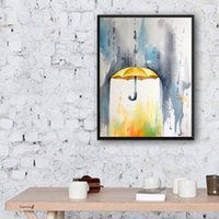 artist umbrella - Beautiful Artworks Artist Handmade Simple Colors Abstract Yellow Umbrella Oil Painting On Canvas For Wall Decoration Paintings