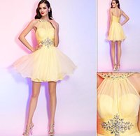 Wholesale Light Yellow Graduation Dresses Chiffon Short Mini Sheer Neckline Open Back Cocktail Party Gowns Cheap Homecoming Dress Beach Style