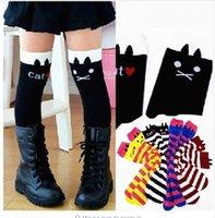 bamboo brand boots - Girls Kids Knee High Socks Cotton Children Tube Stripe Socks Girls Animal Boot Socks for Kids Leg Warmer Long Cute Cat Brand