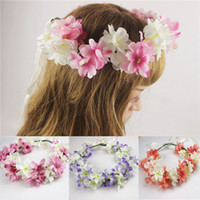 Wholesale Bohemian Bridal Bridemaid Hairband Women Flower Crown Wreath Forehead Garland Headband Wedding Beach Head Accessories