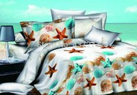 beach pillow shams - Beach seashell starfish polyester bedding set bed linens with queen duvet quilt cover flat sheet pillow shams pc bed sets