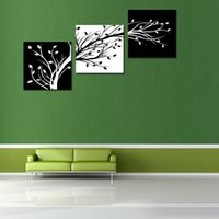 Wholesale 3 Pieces Black and White Leaves Canvas Print Modern Wall Art Abstract Painting for Home Decorations Abstract Artwork For Living Room