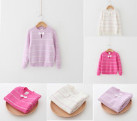 Wholesale ZY32 kids Girls spring winter O neck stripped print bowknot pullover long sleeve sweaters child girl cotton warm sweater DHL free ship