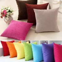 Wholesale Multicolor Simple Square Plain Solid Throw Home Decor Pillow Case Bed Sofa Waist Cushion Cover Square Office Back Car Cushion