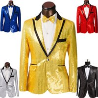 Wholesale 2016 New Sequins men s show suits wedding groom groomsman evening party host dress black edge colors Size S XL jacket tie