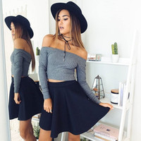 american basic - 2016081318 off shoulder elastic winter sweater women Short gray lapel pullover sexy white jumpers Autumn bodycon basic knitwear top