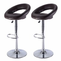 bar stool brown - Set of PU Leather Adjustable Swivel Bar Stool Hydraulic Chair Barstools Brown