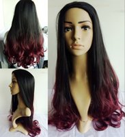 Wholesale Lace Front Red Cosplay Wig - New brand long ombre black root to Wine red cosplay wig hair hand no lace front synthetic celebrity ombre wig mac makeup