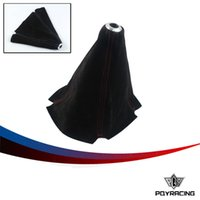 Wholesale PQY Suede leather Red Blue JDM Stitch Shift Knob Shifter Boot Cover MT AT PQY SBC11