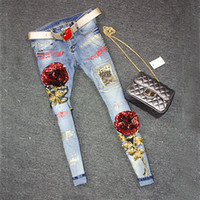 beat club - 2016 Sequins Jeans Women Club Style Street Beat Holes Jeans Ripped Jeans High Waist Floral Jeans