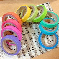 Wholesale Colorful Candy Masking Tape Mini Set Colour Bulk Paper Crafts Sticky Adhesive Sticker Decorative Washi Tape Rolls