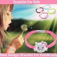 baby silver jewelry - 2016 New Design New Fashion Bracelet Cute Children Pink Hello Kitty Bracelet For Kids Baby Lady Bracelet Fine jewelry KT Cat