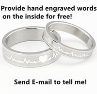 Wholesale 1PC Silver Heartbeat L Stainless Steel Couple Promise Ring US Size Free Hand Lettering Inside Send E Mail to Us With Free Gift Box