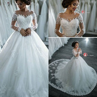 Wholesale 2017 New Arrival Lace Wedding Dresses Elegant Sheer Long Sleeves Appliques Sequins Sweep Train A Line Ball Gown Bridal Gowns Custom Made
