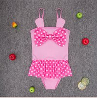 Wholesale American new girls swimsuit Lovely big bow one piece polka dots swimwear Toddler baby kids years little girl cheap one piece