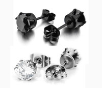 Wholesale our Stainless Steel Mens Womens Stud Earrings Black Round Cubic Zirconia Inlaid mm