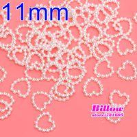 Wholesale mm white Single sided Heart shape Pearl For phone Wedding decoration Nail Art Women Bag B1814