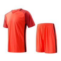 Cheap Orange Men sports wear Athletic training fitness Jogging Clothing jersey and shorts adult running soccer team sets football kits