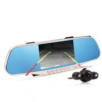 Nuevo 5.0inch coche espejo retrovisor DVR WDR 1080p Full HD coche DVR cámara de visión nocturna cámara de doble lente con imagen inversa