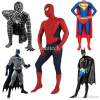 Wholesale High Quality Halloween Mens Spiderman Superman Batman Captain America Costume Adult Children Lycra Superhero Cosplay Costumes
