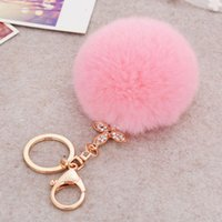 Wholesale Amazing Cute Fur Keychain for Keys Ball Key Chains For Key Ring Candy Color