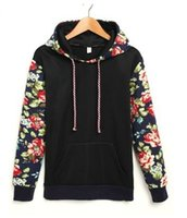 Wholesale New Arrive Ladies Women Hoodies Sweatshirt Printing Floral Patchwork Fashion Top Overcoat Outerwear Hoodies