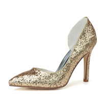 Wholesale 0608 Simple Fashion High Heels Wedding Dresses Flash material Pointed Toe For Women Party Prom Evening Occasion Shoes High Quality