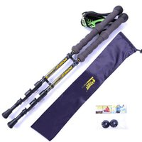 Wholesale 2016 The new Carbon outer lock outdoor super light climbing rod with stick bag Ski mountaineering stick walking stick skiing