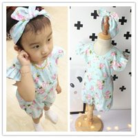 Wholesale NEW baby Rompers strap Floral Jumpsuits with headband set cotton Flowers kids climbing clothing