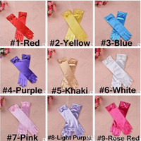 accessories for costumes - Colors Princess Gloves For Girls Elsa Girls Wedding Dress With Bowknot Costume Accessories Satin Gloves