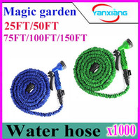Plastic Water Hose (25/50/75/100/150)FT 1000pcs Expandable & Flexible Water Garden Hose hose flexible for water flowers Best quality with valve and Spray Nozzle ZY-SG-04