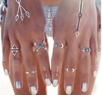 Moda luna piedra suelta flecha conjuntos de anillo de 6 PC de paquetes de combinación de aleación de mujeres anillo de compromiso de plata anillos de boda joyería al por mayor