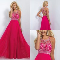 Wholesale 2016 Backless Long Prom Dresses Sheer Halter Beaded Sequins Crystals Long A Line Chiffon Fuchsia Mint Red Women Formal Evening Gowns Cheap