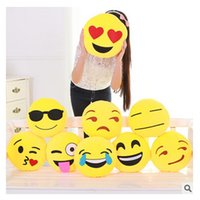 Wholesale Plumblossom Emoji Pillows Cushion Cute Lovely Cartoon Cushion Pillows Yellow Round Pillow Soft Stuffed Plush kids doll Toy Styles
