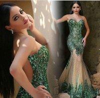 Wholesale Robe de soiree New Sexy Long Evening Dress Illusion Neck Sleeveless Floor Length Beading Tulle Mermaid Prom Dresses
