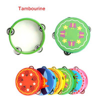Wholesale Toy Musical Instrument Hand Held Tambourine Bell Wooden Percussion for KTV Party Kids Games More Than Colors for Choosing
