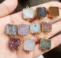 Wholesale Gold plated Mixed color square Agate Druzy Geode connector Drusy Crystal Gem stone pendant Beads Jewelry findings