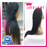 twist tie - Kanekalon Synthetic Braiding Short Kinky Twist Lace Front Wig Braided Hair Wig African American Natural Black Color Black Women Free Shiping
