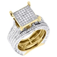 Wholesale Diamond Bridal Set Ladies K Yellow Gold Engagement Ring Wedding Band Tcw