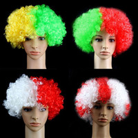 afro hair supplies - Fans Party Supplies Mixed Multi Color Afro Kinky Synthetic Short Hair Festival Party National Flag Wigs Costume Accessory