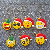 Keychains cotton Car Keychains New Fashion Emoji Smiley Keychains Cute Father Christmas PVC Pendant Car KeyChain Promotional Gift Via DHL Ship