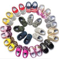 Wholesale New Baby Moccasins Leather Shoes First Walker Shoes Toddler Tassel big Bow PU Soft Sole Shoe Infant Booties Boy Girl Prewalker DG16 S01