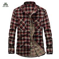 Wholesale 100 Cotton Men Shirts AFS Jeep Plaid Causal Shirt New Fashion Long Sleeve High Quality Mens Clothes