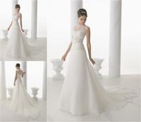 ad bridal - Gorgeous Stylish See through Neck Flower Waist Long Wedding Dress Bridal Gown Custom Made ad