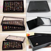 bamboo paper tray - 1Pcs100 Slot PU Leather Hard Paper Jewelry Box Ring Display Tray Black Velvet Pad Box Holder Storage Case