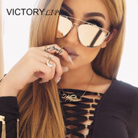 Wholesale Super Star Metal Women - Wholesale-Fashion Brand Desing TECHNOLOGIC Mirror Men or Women Sunglasses Cat Eye Metal Frame Lady Female Shades Super Star Oculos de sol