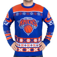 basketball patch - Man Busy Block Ugly Sweater NY Knicks Patch Ugly Sweater Crew Neck Basketball Style Winter Pullovers Sweaters